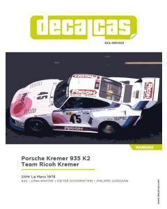 """DCLDEC022 Decalcas 1/24 Porsche Kremer 935 K2 """"Ricoh Kremer"""" #45 Le Mans 1978"""