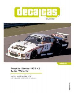 """DCLDEC023 Decalcas 1/24 Porsche Kremer 935 K2 """"Team Willeme"""" #73 Marlboro Cup Zolder 1978 winner"""
