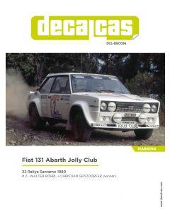 "DCLDEC026 Decalcas 1/24 Fiat 131 Abarth ""Jolly Club"" #2 Sanremo 1980"