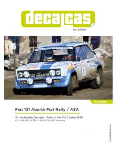 """DCLDEC027 Decalcas 1/24 Fiat 131 Abarth """"Fiat Rally/ASA"""" #1 1000 Lakes 1980"""