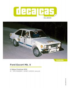 DCLDEC031 Decalcas 1/24 Ford Escort RS1800 MKII #1 Rallye Firestone 1976