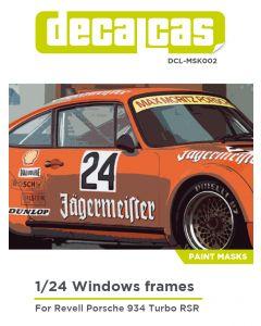 DCLMSK002 Decalcas 1/24 Porsche 934 Turbo RSR Group 4 windows frames mask
