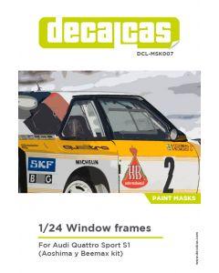DCLMSK007 Decalcas 1/24 Audi Quattro Sport S1 windows frames mask