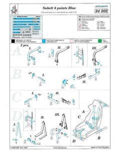 "ED24202 Eduard 1/24 Racing seatbelt ""Sabelt"" blue 6 points"