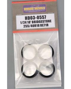 HD030557 Hobby Design 1/24 18inch Bridgestone Potenza RE-71R 255/40R18 tyres