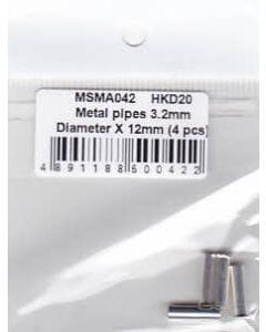MSMA042 MSM Creation Metal pipes 3.2mm Diameter x 12mm (4 pcs)