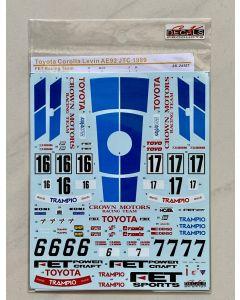 SK24107 SK Decals 1/24 Toyota Corolla Levin AE92 JTC InterTEC/Macau Guia 1989