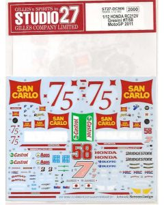 """ST27DC906 Studio 27 1/12 Honda RC212V """"Gresini"""" #7/#58 MotoGP 2011"""