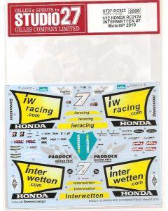 """ST27DC922 Studio 27 1/12 Honda RC212V """"Interwetten"""" #7 MotoGP 2010"""