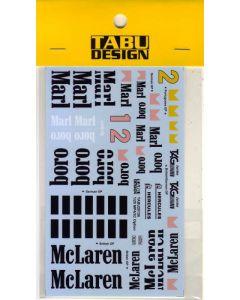 TABU20156 Tabu Design 1/20 McLaren MP4/2C option decals