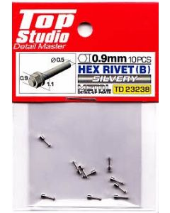 TSTD23238 Top Studio 0.9mm Hex Rivets (B) Silvery