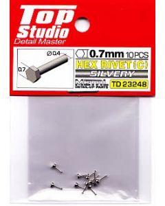 TSTD23248 Top Studio 0.7mm Hex Rivets (C) Silvery