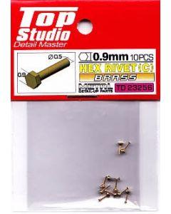 TSTD23256 Top Studio 0.9mm Hex Rivets (C) Brass